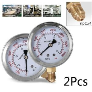 2pcs Hydraulic Liquid Filled Pressure Gauge 0 3500 Psi 2 5 Face 1 4 Npt Fast