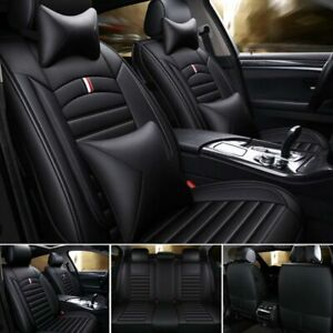 5 Sit Luxury Pu Leather Car Seat Cover Front Rear Cushions Universal Updated Set