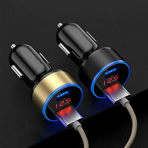 2ports 3 1a Usb Car Cigarette Charger Lighter Digital Led Voltmeter Accessories