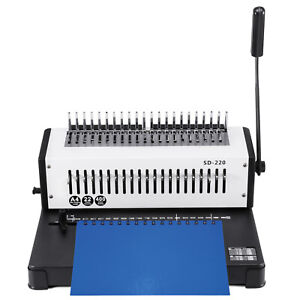 Usa Adjustable 1 21 Hole 400 Sheets Paper Comb Punch Binder Binding Machine