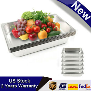 Hot 6x Full Size 4 Deep Steam Table Pans Bain marie Catering Food Warmer Buffet