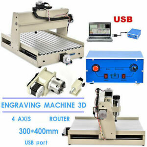 Usb 4 Axis 3040 Cnc Router Engraver 3d Diy Engraving Drill Mill Machine 400w rc
