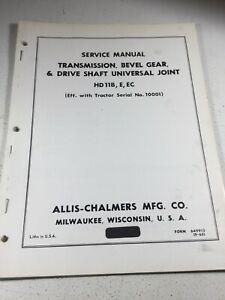 Allis Chalmers Hd11b Hd11e Hd11ec Crawler Dozer Transmission Service Manual