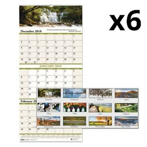 Recycled Scenic Landscapes Three month page Wall Calendar 12 25 X 26