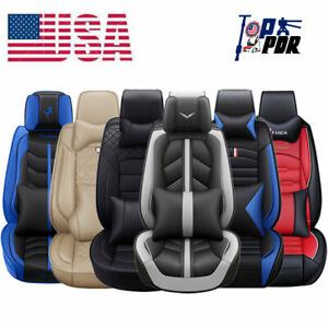Universal Sit Car Pu Leather Seat Covers Front Rear Cushion Accessories Interior