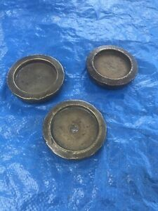 Lot Of 3 Antique Brass Scale Weights Total Of 6 Pounds Gold Or Apothecary Style