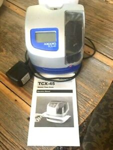 Time Punch Clock Amano Tcx 45 With Power Cord Working With No Key