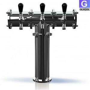 Stainless Steel 3 3 Faucet Draft Beer Tower 3 3 Inch Column Glycol Cooled