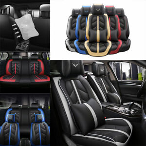 Universal 5 Sits Car Seat Covers Pu Leather Cushion Front Rear Auto Suv Interior