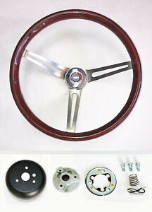 Blazer C10 C20 C30 Pick Up 15 Wood Steering Wheel High Gloss Red White Blue Cap