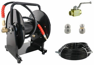 Scheiffer Sewer Jetter Kit Ball Valve Hose Reel 3 8 X 100 Hose And Nozzles