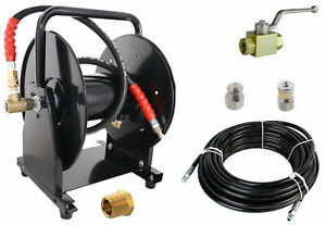 Scheiffer Sewer Jetter Kit Ball Valve Hose Reel 1 4 X 100 Hose And Nozzles