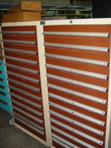 Lista Lot Of 2 Tan 13 Drawer Modular Tooling Cabinets With Dividers