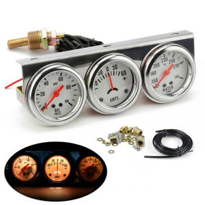 Car Triple Pressure Gauge Kits Universal 52mm Water Oil Engine Replacement Parts