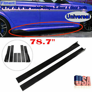 78.7#x27;#x27; Car Side Skirt Body Kit Extension Splitter Diffuser Panel Lip Gloss Black $47.99