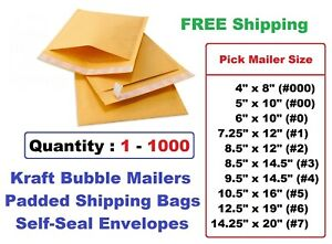 Selfseal Bubble Pack Mailer Padded Envelopes 0 1 2 3 4 5 6 7 00 000 Free Ship
