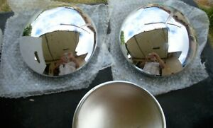 Pair Of Vintage Chrome Baby Moon Hub Caps Dog Dish 8 3 8 new Old Stock