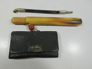 I59 Vintage Antique 1800 S Chinese Pipe In Bone Case W Leather Pouch