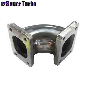 Stainless Steel 90 Degree Turbocharger Flange Conversion Adapter T2 To T2 4 bolt