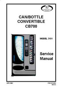 Can bottle Vending Machine Cb700 Model 3151 Service Manual Cd 52 Pages