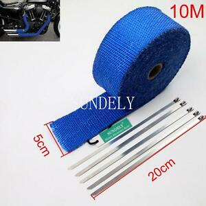 Blue Exhaust Heat Wrap High Temp Manifold Front Pipe Exhaust Shields 2 X 10m