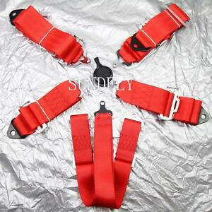 Hi q Sports Racing Harness Seat Belt 3 4 5 6 Point Fixing Quick Release Red