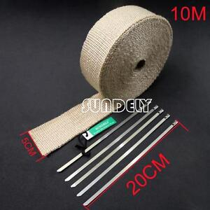 Cream White High Temp Exhaust Magma Heat Wrap 5 Stainless Steel Ties 10m X 5cm