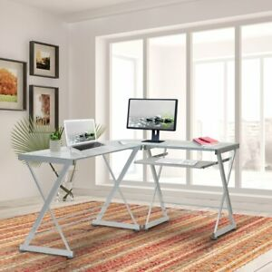 Techni Mobili L shaped Tempered Glass Top Computer Desk W Pull Out Keyboard Pan