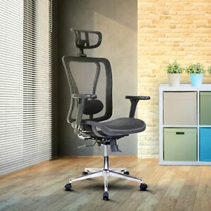 Techni Mobili High Back Executive Mesh Office Chair With Arms Headrest And Lumb