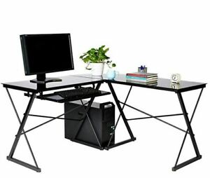 L shape Corner Tempered Black Glass Workstation Computer Desk W Keyboard Storag