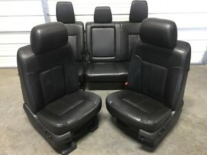 1999 2016 Ford F250 F350 F450 Super Duty Front And Rear Seats Black Leather
