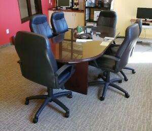 Conference Room Table Chair Set 8 Ft Oval W glass Top 6 Matching Chairs