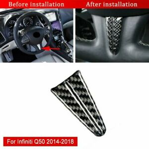 Carbon Fiber Steering Wheel Sticker Trim For Infiniti Q50 2014 2019