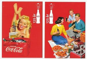 Coca Cola 125 years - advertising postcards - 4 different