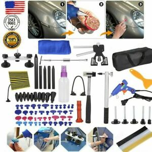 90pc Paintless Dent Repair Puller Lifter Pdr Tool T Bar Hammer Removal Glue Us