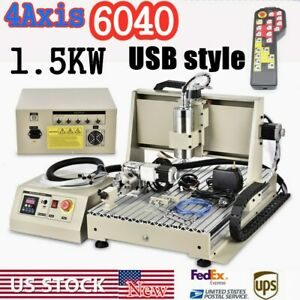 Usb 4axis Cnc6040 Router Engraver Carving Milling Machine 1 5kw handwheel Cutter