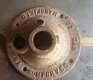 Antique Cast Iron Well Water Pump Base Humphreys Mfg Co Mansfield Oh Cut