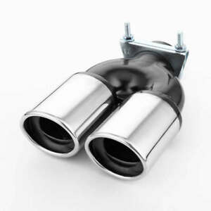 2 5 Inlet Resonated Exhaust Muffler Tip With Clamp Dual Oval Out 9 65 Long
