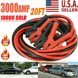 3000amp Booster Cables 0 Gauge Jumper Leads 20ft Heavy Duty Car Van Clamps Start