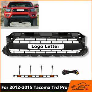 Front Grille Mesh Grill Black For Toyota Tacoma 2012 2015 Trd Pro W Led Lights