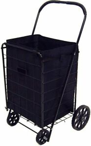 Jumbo Folding Heavy Duty Shopping Cart With Matching Free Black Liner Cover