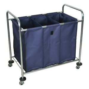 Industrial Laundry Cart W Steel Frame Navy Canvas Bag W Dividers