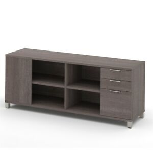 Pro linea Credenza With Three Drawers In Bark Gray