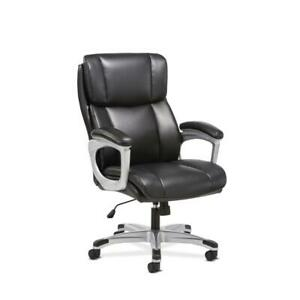 Sadie Executive Computer Chair Fixed Arms For Office Desk Black Leather