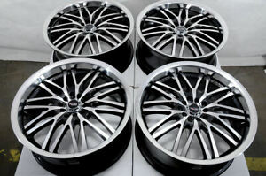 18x8 5x100 5x114 3 Black Wheels Fits Ford Edge Flex Fusion Taurus Mustang Rims
