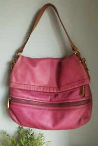 Fossil Purple Leather Foldover Hobo Shoulder Bagpurse zipper $12.90