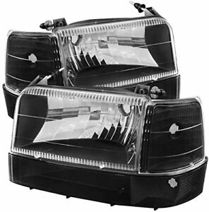 For Ford 1992 1996 F150 F250 F350 black clear Headlights Lamps Set Front Lh rh