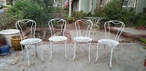 Set Of 4x Antique French Garden Chairs Wrought Iron Original Late 19th Century