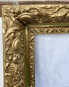 Antique Victorian Belle Poque Gilt Picture Frame Wood Gesso Lemon Gold 18 X14