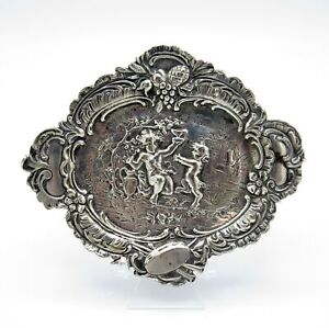 Antique Sterling 800 Silver Germany Small Dresser Tray With Dancing Cherub